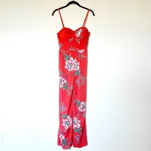 Band of Gypsies Floral Romper Red Size XS